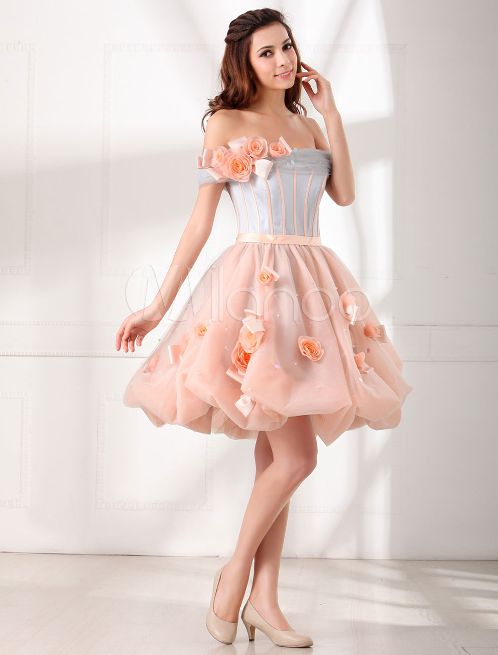Short Prom Dress Off-the-shoulder Flower Organza Beading A-Line Pink Homecoming Dress