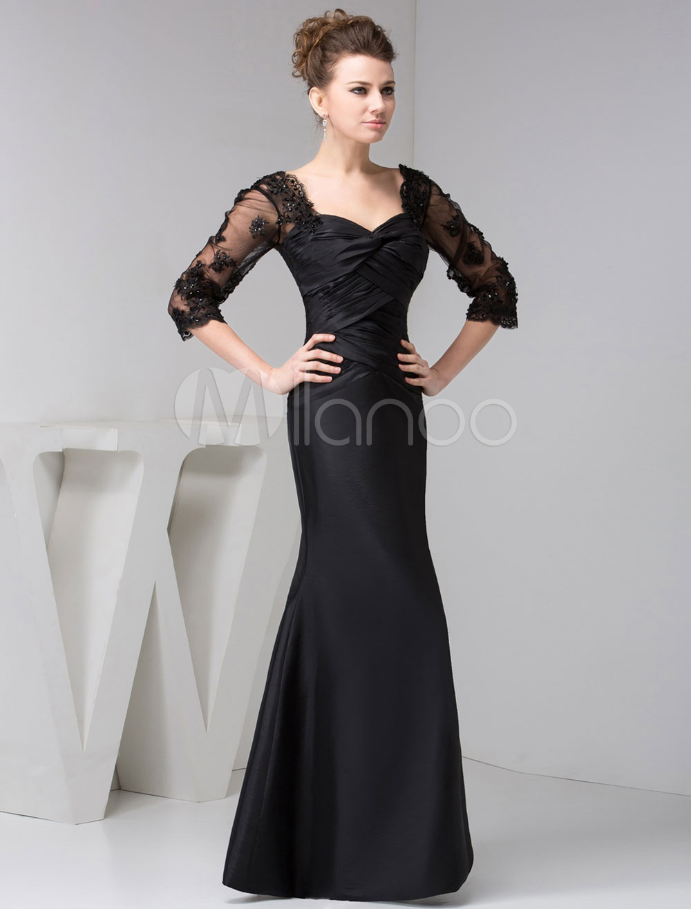 Black Mother Of Bride Dress Long Sleeves Lace Mermaid Maxi Evening Dress