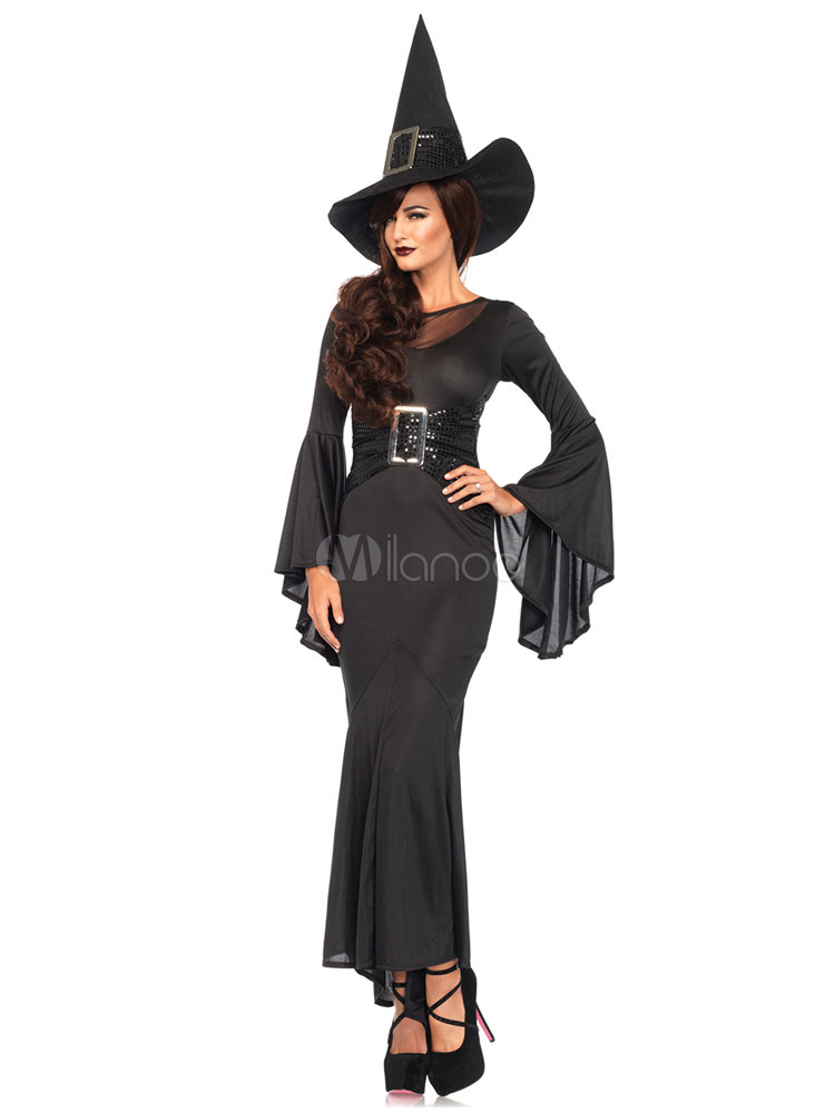 Black Witch Costume Set Halloween Hat And Sexy Dress For Women Halloween