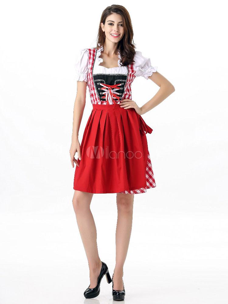 Sexy Bier Girl Kostüm rot karierten Frauen Bier Mädchen verkleiden ...