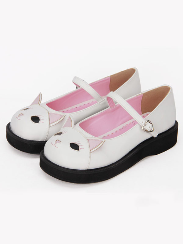 Sweet Lolita Shoes White Kitty Cute Mary Jane Lolita Paltform Shoes