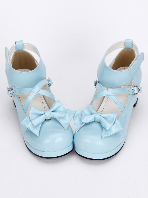 Dulce Lolita zapatos ligero azul arco Linda Lolita zapatos tobillo correa baja Lolita tacones con arco desmontable BHNHGRd6k