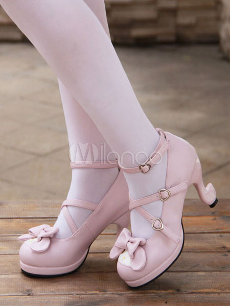 Dulce Lolita zapatos rosa arco zapatos de tacón alto bombas lindo tobillo correa Lolita con tacones en forma de especial zl7Fe6QV