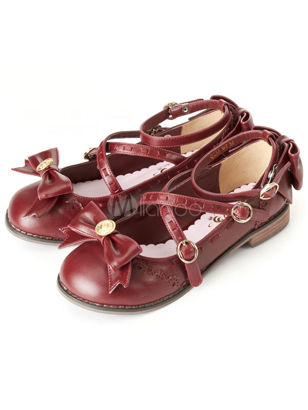 Sweet Lolita Shoes Bows Mary Jane Lolita Flats Shoes With Ankle Strap