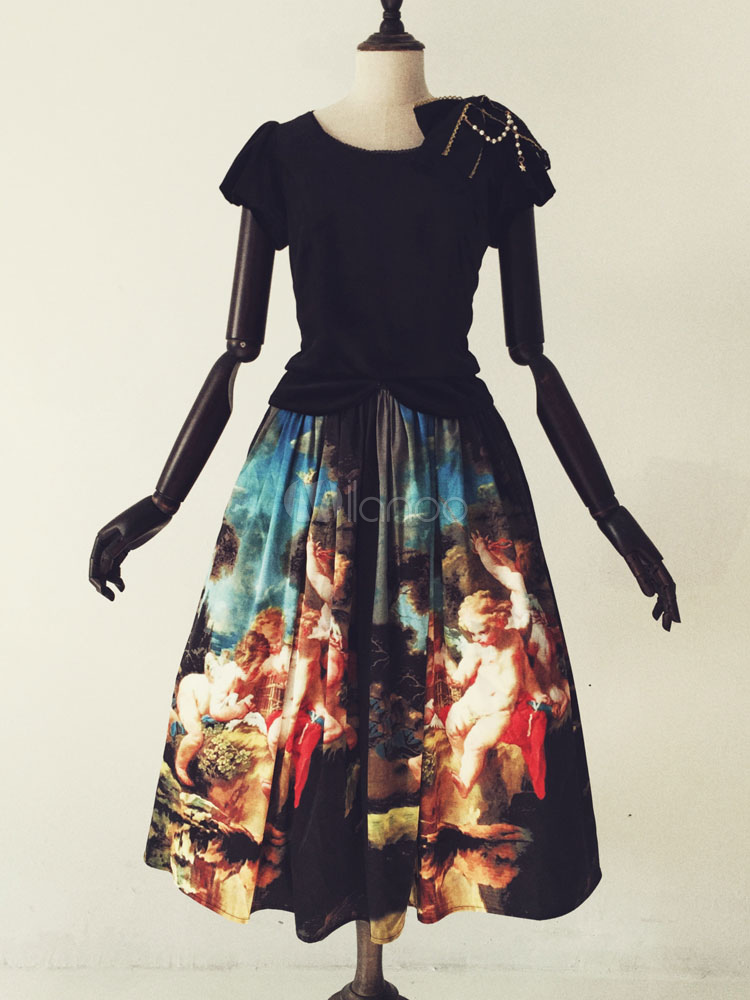 Gothic Lolita Dress Vintage Angel Painting Printed Lace Up Loltia Dress High Waist Milanoo Lolita Sk