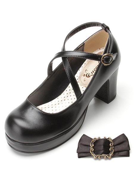 Zapatos de Lolita clásica cinta arco Lolita Plaza grueso tacones zapatos con tobillera Qx0E8eL