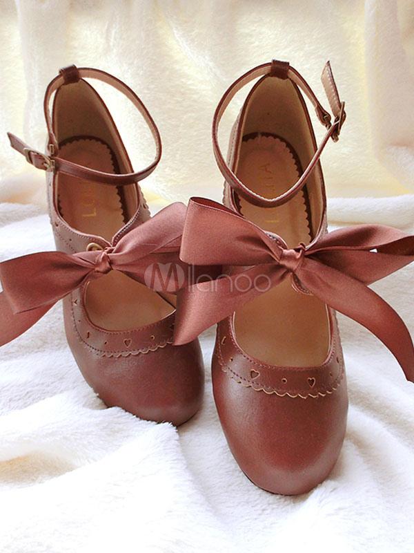 Clásico Lolita zapatos cinta arco Lolita tacón Ballet zapatos de cuero con correa de tobillo C7eEQ
