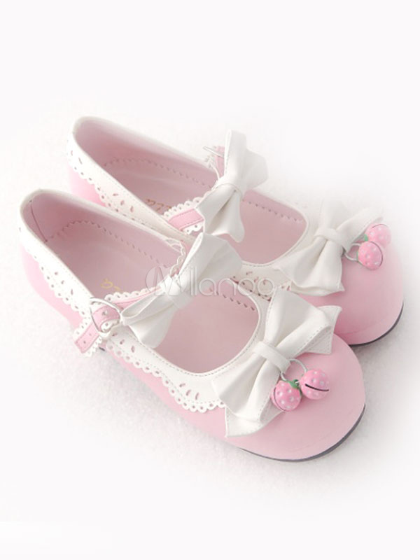 Sweet Lolita Shoes White Bows Mary Jane Lolita Low Heel Shoes With Strawberry Bells