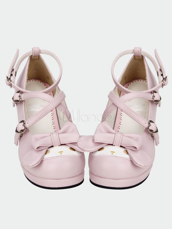 Buy Sweet Lolita Shoes Pink Cross Bow High Heels Pumps Cute Ankle Strap Lolita Shoes With Special-shaped Heels for $75.59 in Milanoo store