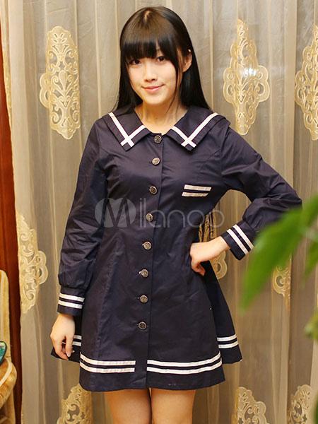 Buy Sailor Lolita Dress Stripe Long Sleeves School Lolita Dress for $52.79 in Milanoo store