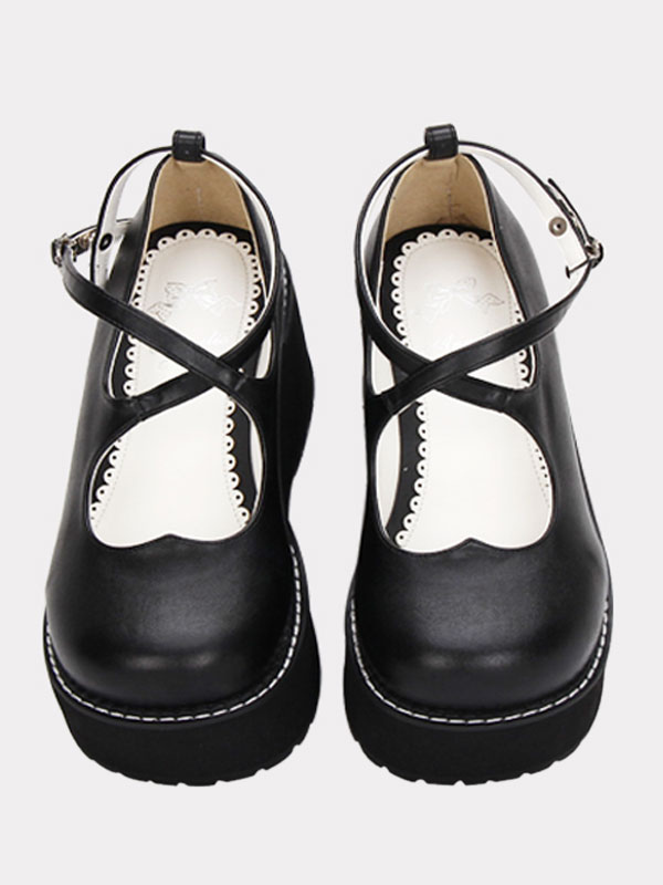 Gothic Lolita Shoes Black Cross Platform Wedge Lolita Shoes Round Toe Lolita Pumps