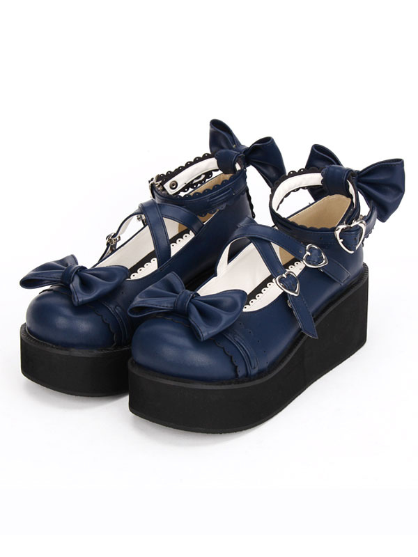 Buy Gothic Lolita Shoes Cross Bows Platform Lolita Shoes Ankle Strap Lolita Platform Heels Shoes for $64.79 in Milanoo store