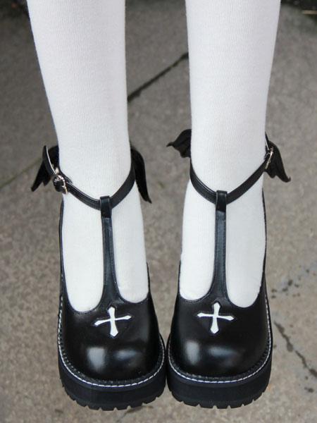 Zapatos Gothic Lolita cruzan plataforma cuña T-Lolita zapatos con ala mal LowP8hp