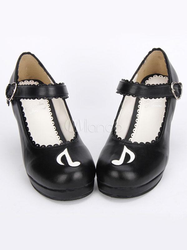Gothic Lolita zapatos negro Cruz Mary Jane tobillo correa Gothic Lolita zapatos Kitten Heels bombas con ala mal wD0z3YZj