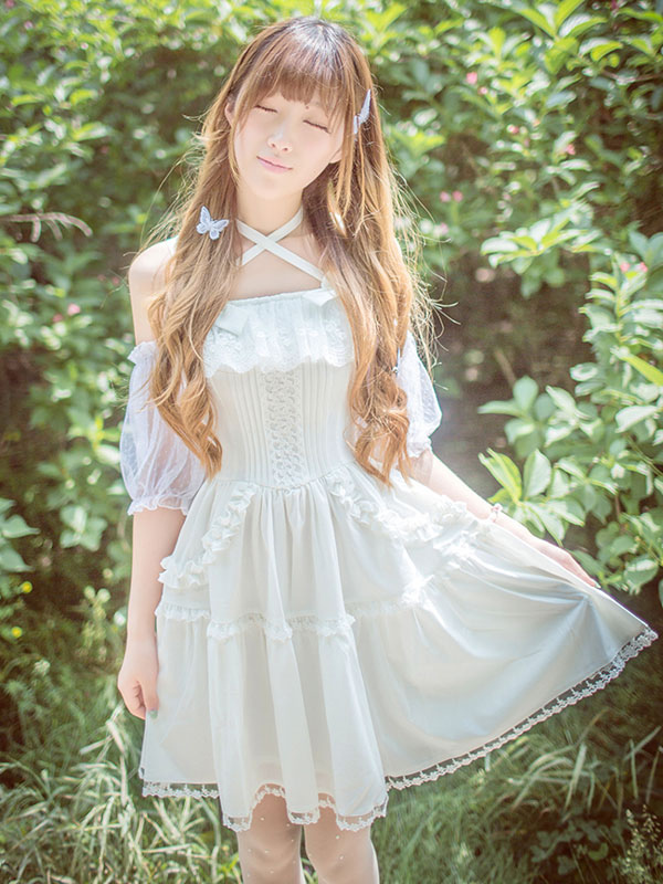 Buy Sweet Lolita Dress Lace Ruffle Chiffon Lolita Jumper Skirt for $70.69 in Milanoo store
