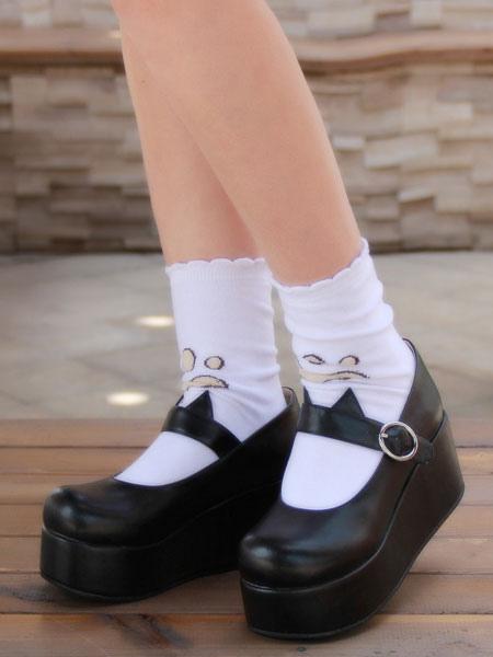 Zapatos Gothic Lolita negro plataforma zapatos de Mary Jane Lolita con oreja de gato QAOU09hSC