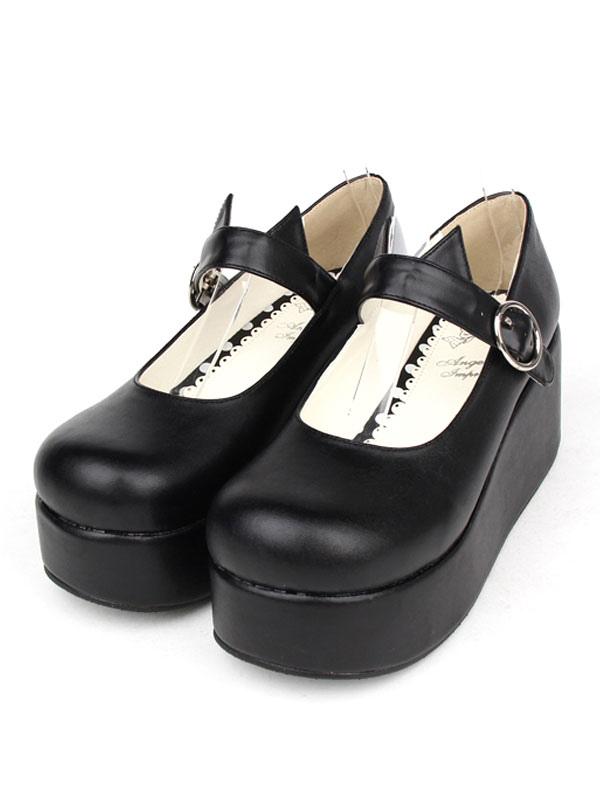 361cd6ac3ecd Gothic Lolita Shoes Black Platform Mary Jane Lolita Shoes With Cat Ear-No.1  ...