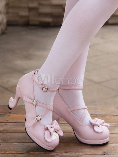 Dulce Lolita zapatos rosa arco zapatos de tacón alto bombas lindo tobillo correa Lolita con tacones en forma de especial tl02F0KQY