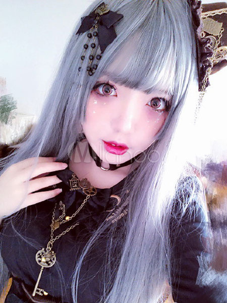 Buy Gothic Lolita Wigs Long Straight Silver Gray Lolita Hair Wigs for $31.99 in Milanoo store