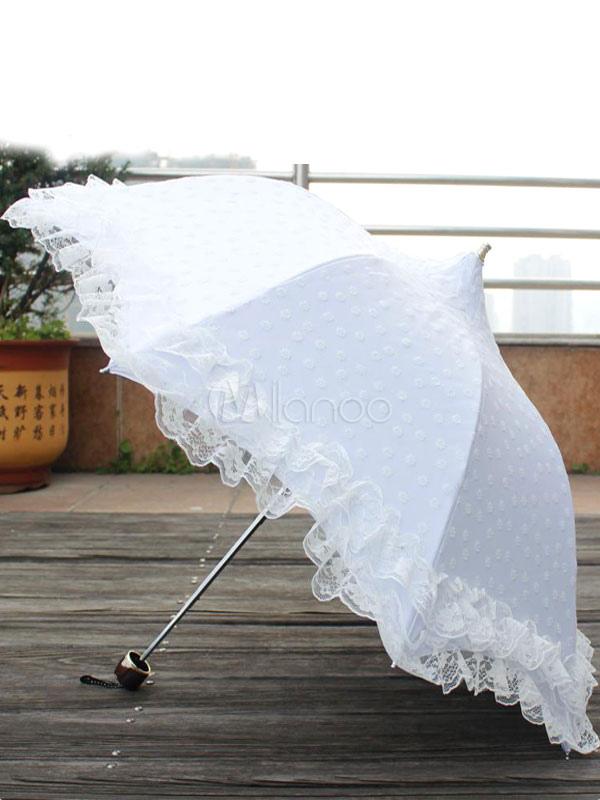 Sweet Lolita Umbrella Lace Trim Flora Printed Third-fold Lolita Parasol Umbrella Dual-use With Tower Shape