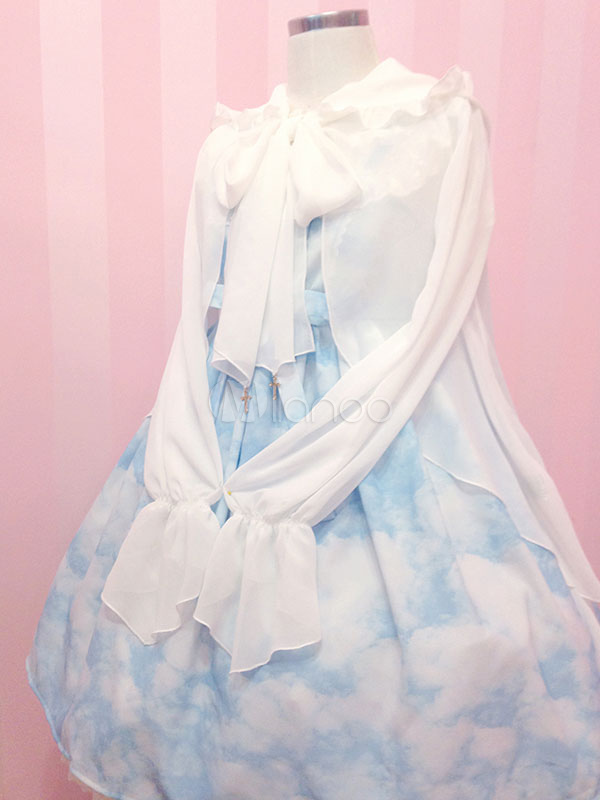 Buy Sweet Lolita Clothing White Big Bow Chiffon Lolita Coat Long Flare Sleeves Lolita Hooded Cardigan for $22.49 in Milanoo store