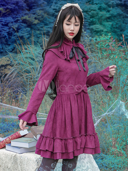 Buy Gothic Lolita Dress Vintage Bow Burgundy Ruffled Elegant Gothic Lolita Dresses Imitation Suede Milanoo Gothic Lolita Dress With Flare Sleeves for $64.39 in Milanoo store