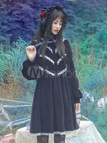 Buy Gothic Lolita Dress Vintage Black Velvet White Lace Trim Elegant Gothic Lolita Dresses With Bishop Sleeves for $89.29 in Milanoo store