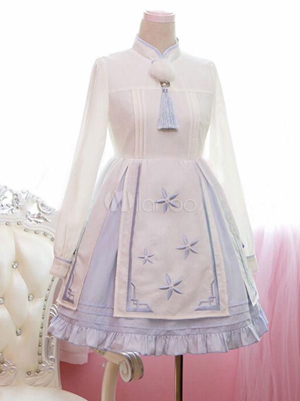 Sweet Lolita Dress Light Blue Embroidered Ruffled Qi Lolita Dress Long Sleeves With Mandarin Collar