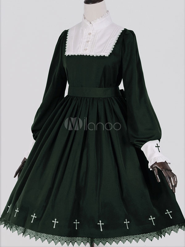 Gothic Lolita Dress Cross Printed Black White Lace Milanoo Gothic Lolita Dress With Stand Collar