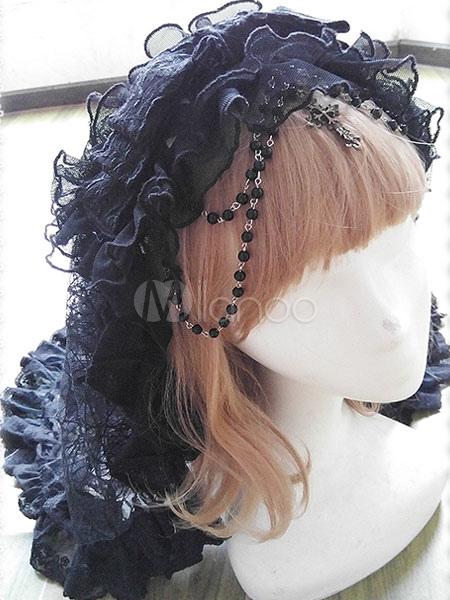 ロリィタヘッドドレス ブラック フリル カジュアル チュール ベール 無地 ゴシック