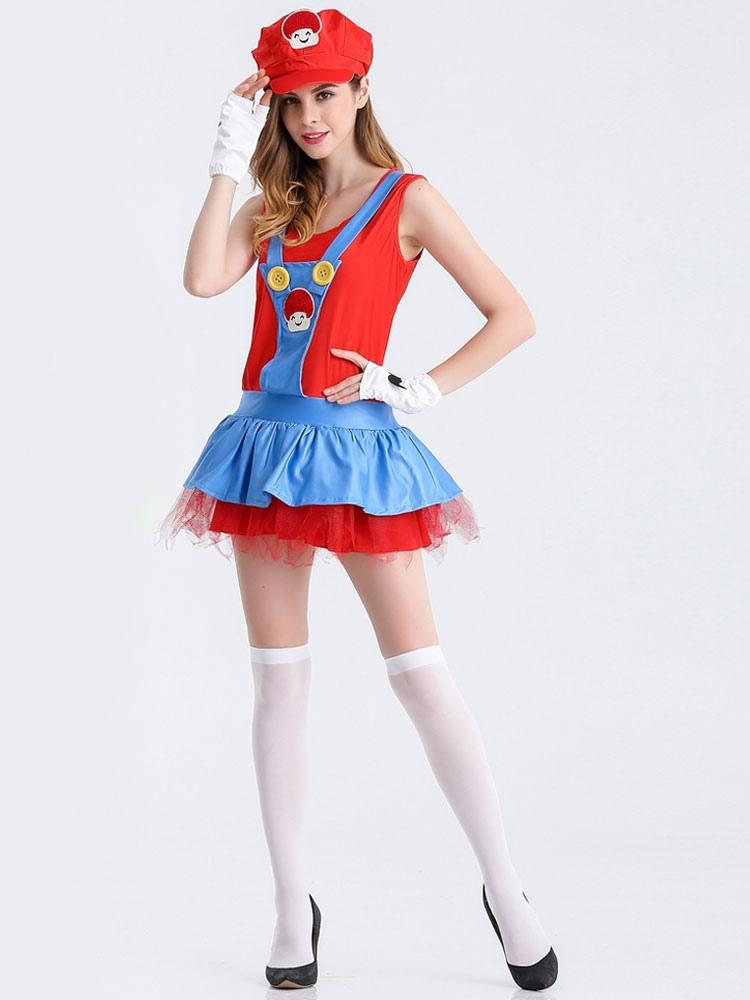 Super Mario Bros Adulto Damas Falda Trajes Holloween Halloween - Trajes-de-hallowen