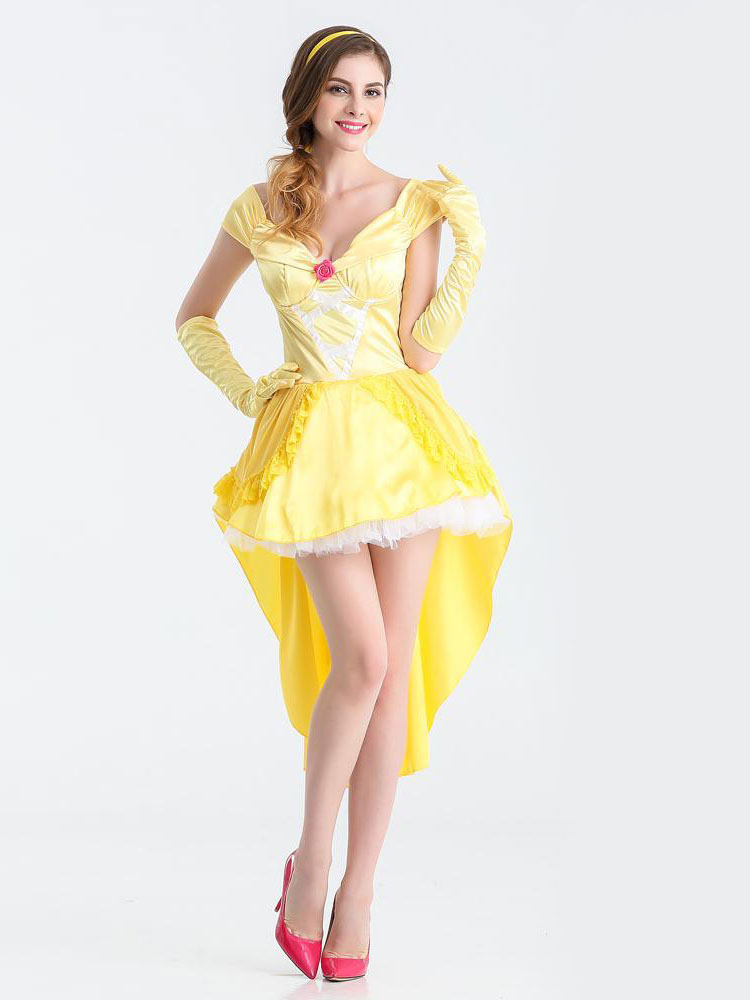 Buy Sexy Halloween Costume Princess Women's Yellow High Low Dress With Headgear & Glove Halloween for $27.99 in Milanoo store