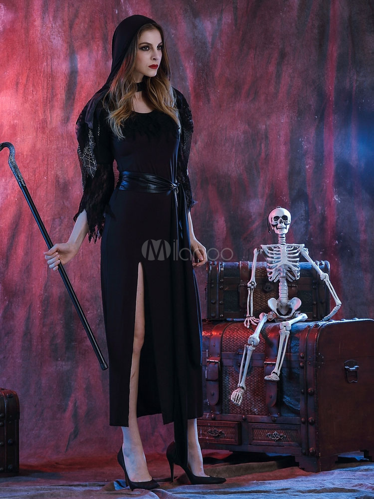 Negro Halloween disfraces bruja mujer partido vestido con sombrero ...