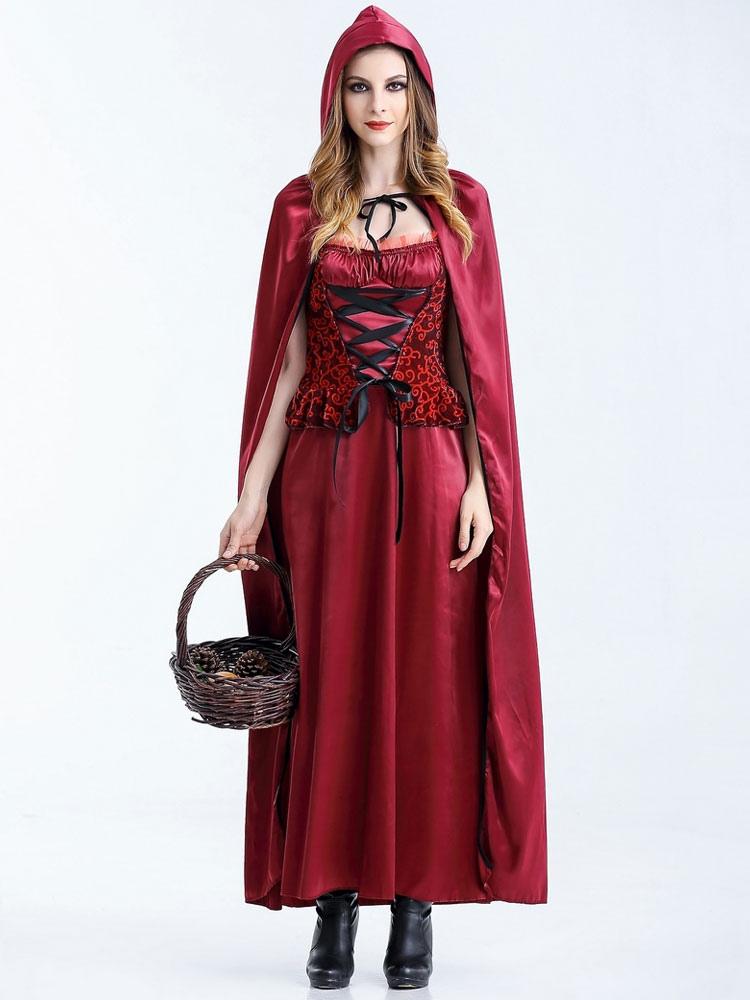 Halloween disfraces de Caperucita Roja Traje Cosplay mujer con guantes  Halloween-No.1 ... ab86dd130939