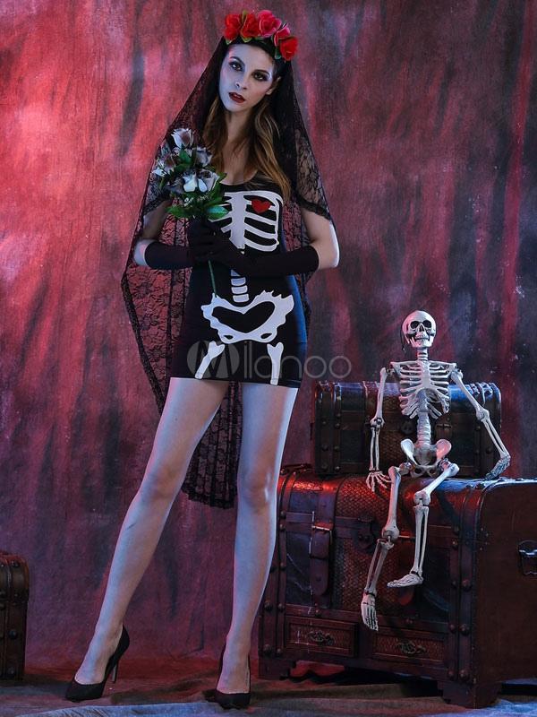 Vestido negro de halloween traje novia cadáver la mujer con Heagear ...