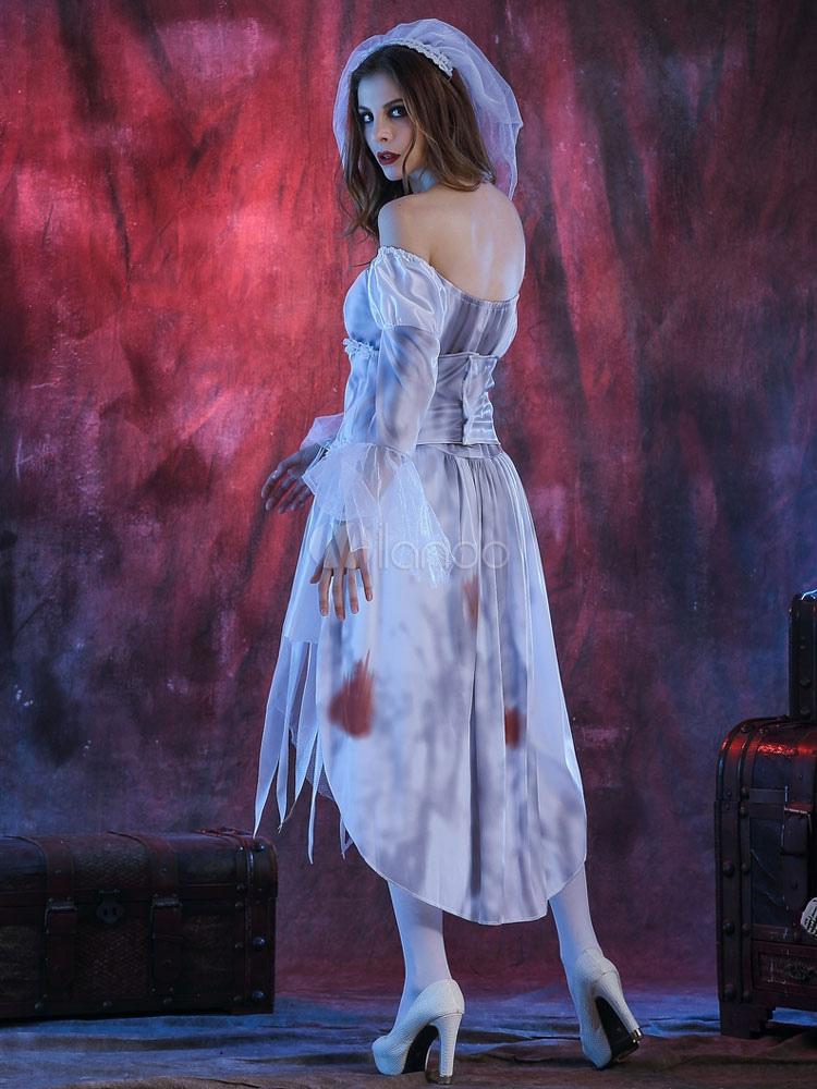 Vestido blanco de halloween traje novia cadáver la mujer con velo ...