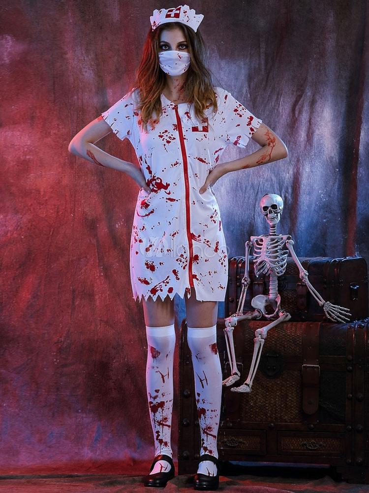 Vestido blanco de Halloween disfraces enfermera mujer con arnes ...