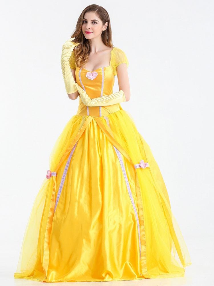 da55ffbdabd1 ... Beauty And The Beast Dress Yellow Scoop Princess Dress Cosplay Costume  With Gloves Halloween-No ...