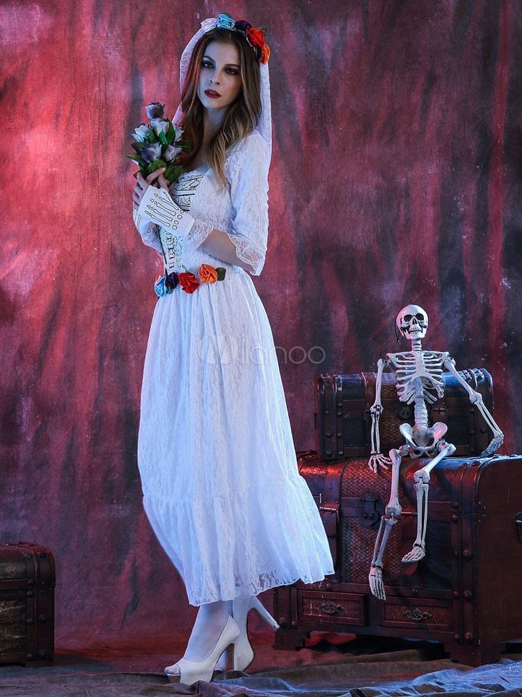 Vestido blanco de halloween traje novia cadáver la mujer con guantes ...