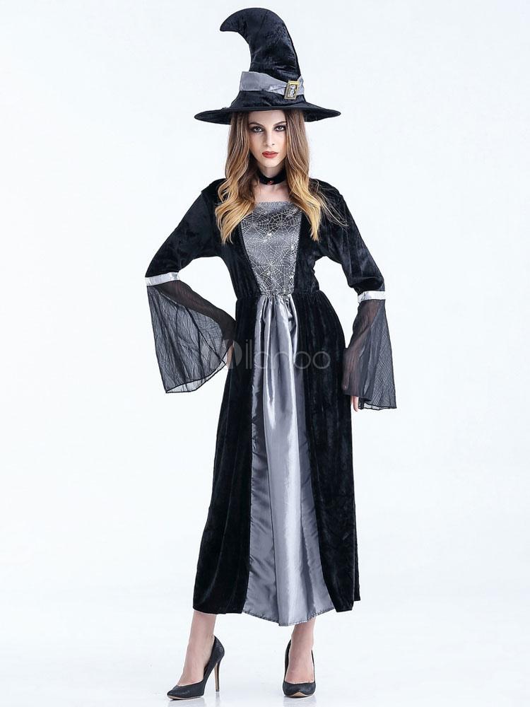 Vestido negro largo bruja