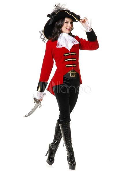 gran descuento bajo costo nueva llegada Traje rojo de Halloween sexy traje pirata mujer con sombrero ...
