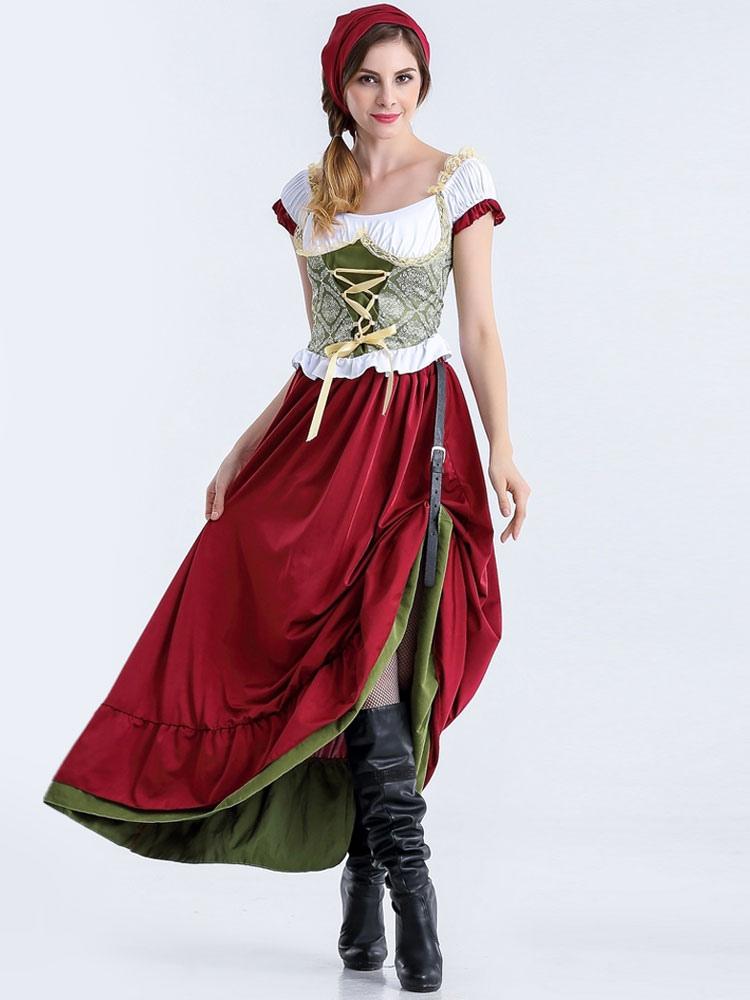 Buy Oktoberfest Red Dress Holloween Costume For Women Halloween for $25.75 in Milanoo store