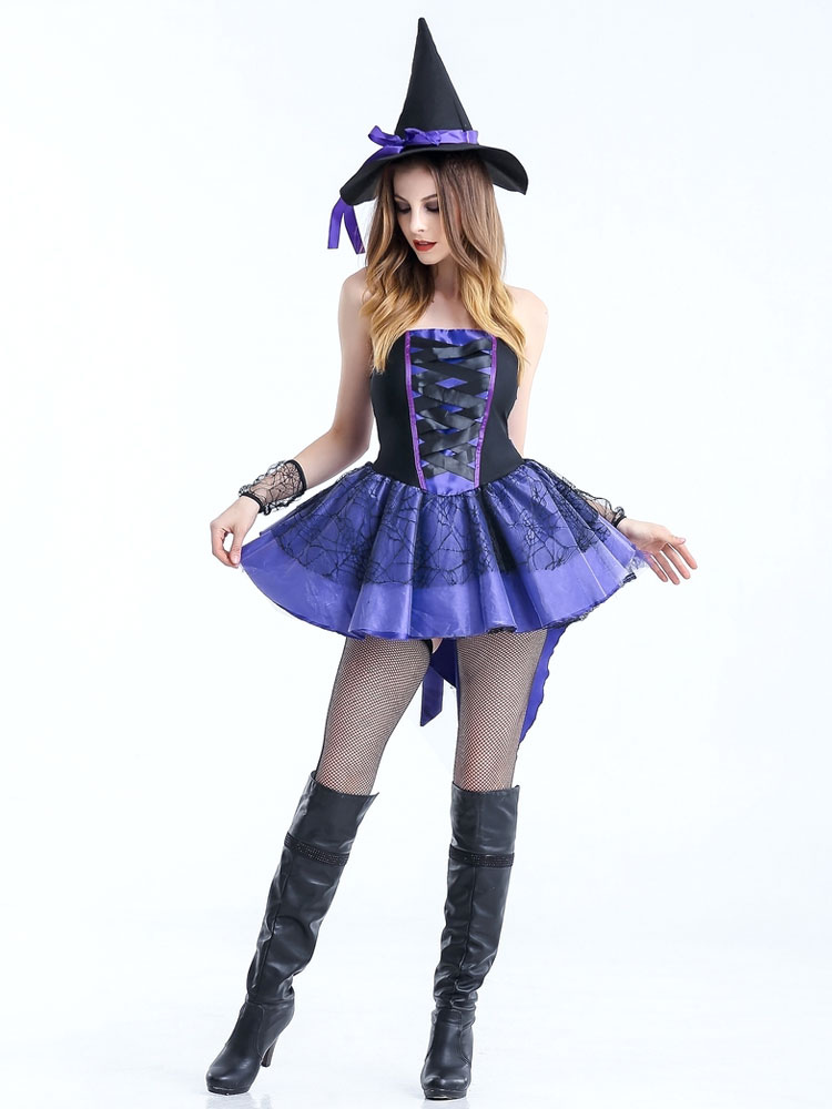 49468f91760 Halloween Sexy Costumes Witch Women s Purple Strapless Skater Dress With  Witch Hat Halloween-No.