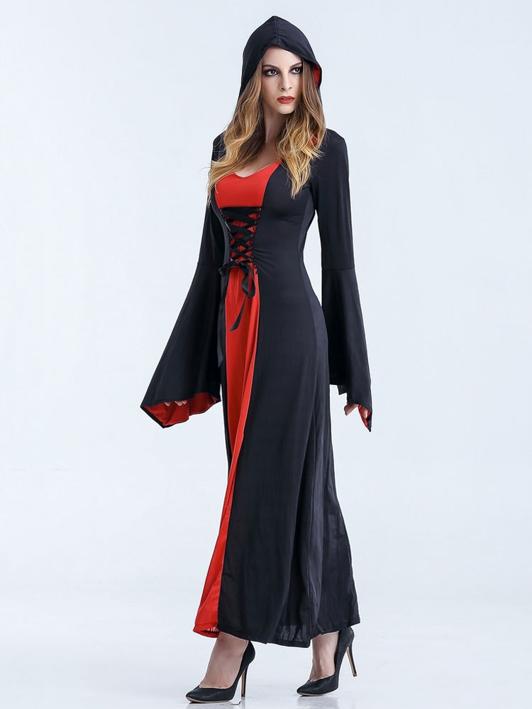 robe longue halloween costumes sorci re femme avec capuche halloween. Black Bedroom Furniture Sets. Home Design Ideas