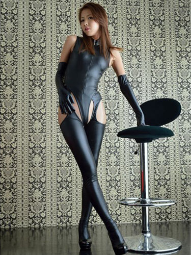 Halloween Sexy Costume Black Catsuit With Gloves Halloween
