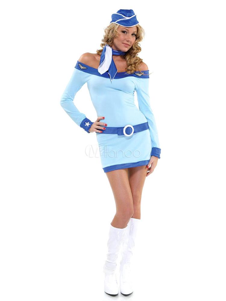halloween kost m sexy stewardess off the shoulder belted kurzen kleid mit sch rpe hut. Black Bedroom Furniture Sets. Home Design Ideas
