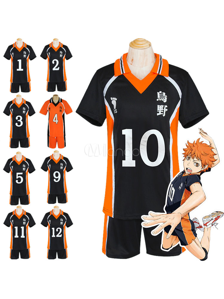 Buy Haikyuu!! Hinata Shouyou Cosplay Costume No. 10 Jersey Halloween for $28.99 in Milanoo store