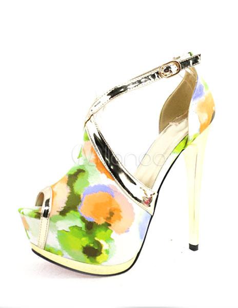 Vintage Hochzeit Schuhe High Heel Sandalen Plattform Peep