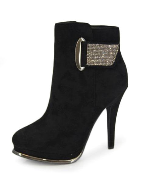 c3ad89bc Botas de Mujer de 2019 Botas Negras Botas de Invierno Cortas con cremallera  de punta puntiaguda de tacón alto con plataforma y hebilla -  boutique.milanoo