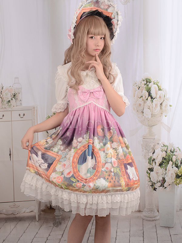 Buy Sweet Lolita Dress Vintage Lace Cats Floral Printed Cute Milanoo Lolita Dresses Bow High Waist Lolita Jumper Skirt With Cross Strap Backless for $159.99 in Milanoo store